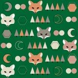 Muster mit Fuchs und Mond Stockbilder