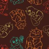 Muster mit gemalten neugeborenen Babys in den verschiedenen Haltungen Lizenzfreie Stockfotografie