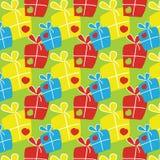 Muster mit Geschenkboxen Stockfoto