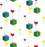Muster mit Geschenken und Ballonen Lizenzfreies Stockbild