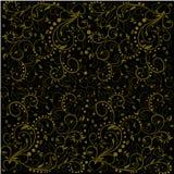 Muster mit goldenen Blättern, abstrakten Strudeln, Blumen und Herzen Stockfoto