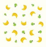 Muster mit grünen Äpfeln und Bananen Lizenzfreie Stockfotografie