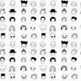Muster mit grafischen Gesichtern Auch im corel abgehobenen Betrag Set Leuteikonen stock abbildung