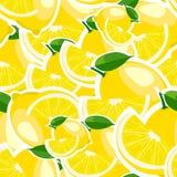 Muster mit großen Zitronen und Blättern Stockfotografie