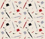 Muster mit Hüten und Regenschirmen Lizenzfreies Stockbild