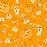 Muster mit Halloween-Gegenständen. Stockfotos