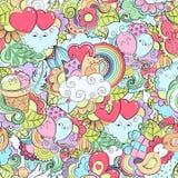 Muster mit Hand gezeichnetem Herzen, Katze, Ballon, Wolke, Erdbeere, Vogel, Geschenk, Schmetterling Schablone für das Verpacken,  Lizenzfreies Stockbild
