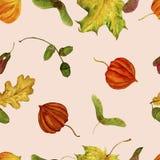 Muster mit Herbstlaub auf einem weißen Hintergrund Hand gezeichnete Aquarellillustrationen Lizenzfreies Stockfoto