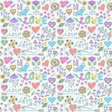Muster mit Herzen, Blumen und anderen Elementen Lizenzfreie Stockfotos