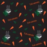Muster mit Kaninchen, Karotten und Niederlassungen Lizenzfreie Stockfotografie