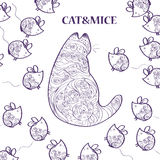 Muster mit Katze und Mäusen Lizenzfreie Stockfotografie