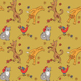 Muster mit Katzen, Hunden, Hühnern und Blumen Lizenzfreies Stockbild
