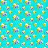 Muster mit kleinen Pansies und Punkten Stockbild