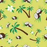 Muster mit Kokosnuss und Palmen Stockfotografie