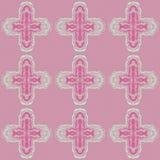 Muster mit kreuzförmigem wiederholendem Dekor auf einem farbigen Hintergrund lizenzfreie abbildung