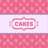 Muster mit Kuchen und kleinen Kuchen Stockfotos