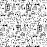 Muster mit Linie Hand gezeichneter Gekritzel-Musik-Hintergrund Gekritzel lustig vektor abbildung