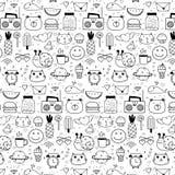 Muster mit Linie Hand gezeichneter Gekritzel-reizender Vektor-Hintergrund für Kind Gekritzel lustig lizenzfreie abbildung