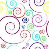 Muster mit mehrfarbigen Spiralen von verschiedenen Größen lizenzfreie abbildung