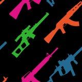 Muster mit modernen Waffen in den sauren Tönen auf einem schwarzen Hintergrund vektor abbildung