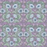 Muster mit Mohnblume und Blättern lizenzfreie stockfotografie