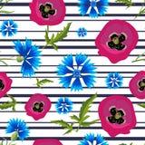 Muster mit Mohnblumen, Kornblumen und stripes-01 Lizenzfreie Stockbilder