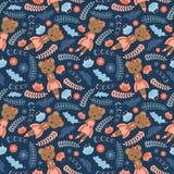 Muster mit nettem Bären und Blumen auf dunklem Hintergrund vector Karikatur Stockfoto