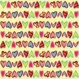 Muster mit netten bunten Herzen Stockbilder