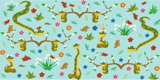 Muster mit netten Schlangen Nett und lustig Überlagert, einfach zu bearbeiten Auch im corel abgehobenen Betrag lizenzfreie abbildung