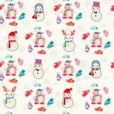 Muster mit netten Schneemännern und Handschuh Lizenzfreie Stockfotos