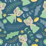 Muster mit netter Katze und Blumen auf blauem dunklem Hintergrund vector Karikatur Lizenzfreies Stockbild