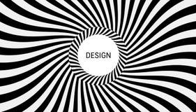 Muster mit optischer Illusion Schwarzweiss-Design Abstrakter gestreifter Hintergrund Auch im corel abgehobenen Betrag vektor abbildung