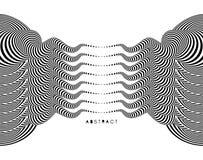 Muster mit optischer Illusion Schwarzweiss-Design Abstrakter gestreifter Hintergrund Auch im corel abgehobenen Betrag stock abbildung