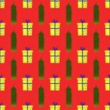 Muster mit Präsentkartons und Tannenzweigen lizenzfreie abbildung