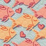 Muster mit rosafarbenen Fischen und Innerem vektor abbildung
