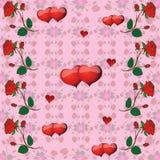 Muster mit Rosen und Herzen Lizenzfreie Stockfotografie