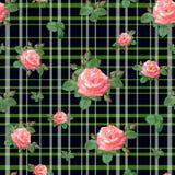 Muster mit Rosen und Streifen Stockfoto