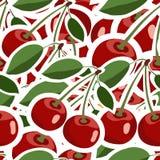 Muster mit roten Kirschaufklebern mit grünen Blättern Stockbilder