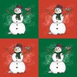 Muster mit Schneemann und Vögeln in der Karikaturart Netter Winterurlaub Schwarze Linie Tintenperson im Hut und in gestricktem Sc stockbilder