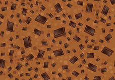 Muster mit Schokolade Stücke Schokolade auf braunem Hintergrund Nahtloses textur Lizenzfreie Stockfotografie