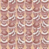 Muster mit Schokoladenkleinem kuchen 2 Stockbild
