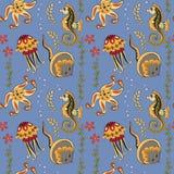 Muster mit Seahorses, Quallen, Starfishes und Stechrochen Stockbild