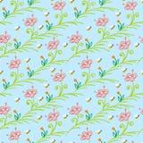 Muster mit stilisierten Blumen und Bienen Stockfoto
