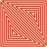 Muster mit symmetrischer geometrischer Verzierung Gestreifter roter weißer abstrakter Hintergrund Zusammenfassung wiederholte Dre Stockbild