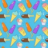 Muster mit unterschiedlicher Eiscreme Lizenzfreies Stockbild