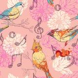 Muster mit Vögeln, Blumen und musikalischen Symbolen Stockfotografie