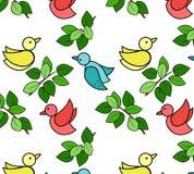 Muster mit Vögeln und Blättern Stockfotografie