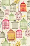 Muster mit vintag Birdcages Stockbild