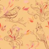 Muster mit Vogel und handdrawn Blumen Stockfoto