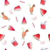 Muster mit Wassermelone und Cocktails mit den Wörtern frisch auf einem weißen Hintergrund stockfoto